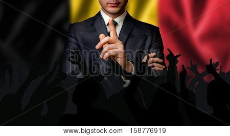 Belgian Candidate Speaks To The People Crowd