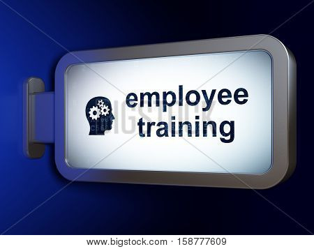 Education concept: Employee Training and Head With Gears on advertising billboard background, 3D rendering