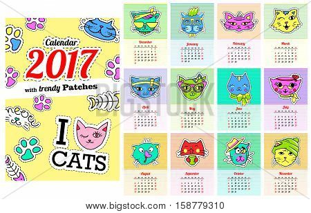 Calendar 2017 with cats. In cartoon 80s-90s comic style fashion patches, pins and stickers. Pop art vector illustration. Every 12 months.Trendy colorsVector clip art.