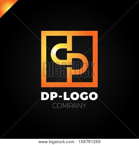 Letter D And Letter P Logo. Pd, Dp Initial Overlapping In Square Letter Logotype Orange
