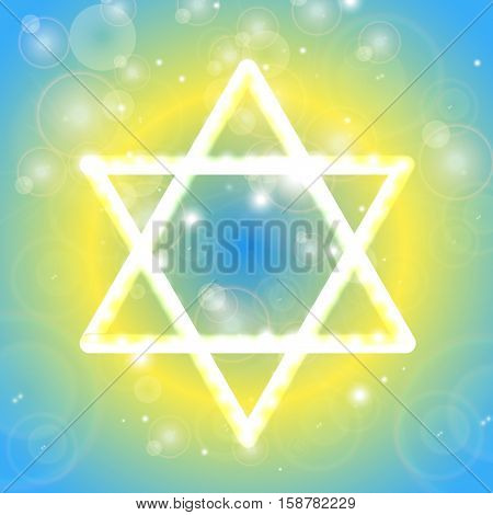 Happy Hanukkah background. Star of David. Vector illustration contains transparencies gradients and effects.