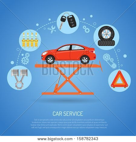 Car Service concept with Flat Icons like jack, Spark Plug and piston. Vector illustration.