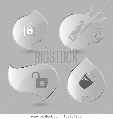 4 images: bank, saw, opened lock, bucket. Industrial tools set. Glass buttons on gray background. Fire theme. Vector icons.