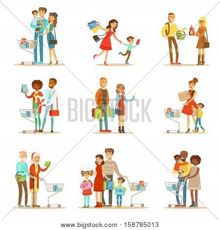 Families Shopping In Department Store And Shopping Mall Set Of Cartoon Characters Buying Products And Objects In The Shop. Colorful Vector Illustrations With Happy Men And Women With Shopping Bags And Carts In Supermarket.