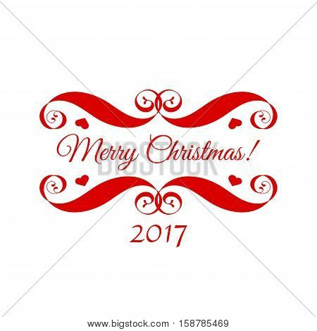 Vector Merry Christmas red badge over white. Easy use and recolor elements for your design. Element for logo, banners, labels, postcards, invitations, prints, posters, web, presentation.