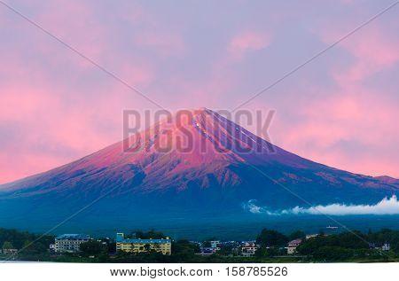 Mount Fuji Detail Sunrise Kawaguchiko Red Cone Sky