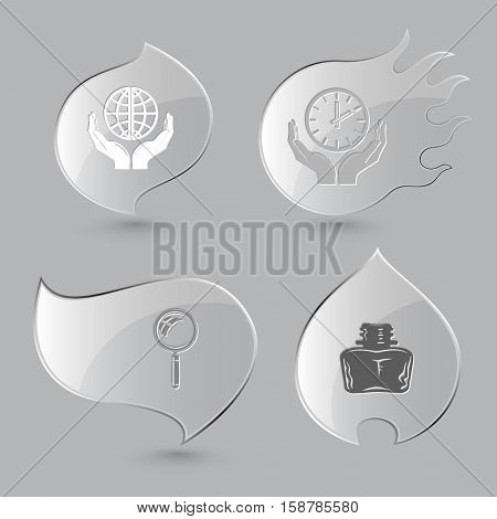 4 images: protection world, clock in hands, magnifying glass, inkstand. Education set. Glass buttons on gray background. Fire theme. Vector icons.