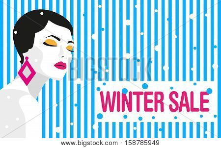 Winter sale. Banner. Fashion girl. Bold, minimal style. Pop Art. OpArt, positive negative space and colour. Trendy strips. Vector illustration - stock vector