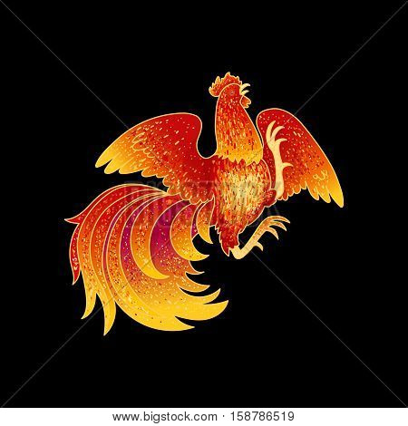 2017, the Year of the Fire Rooster in Chinese Horoscope. Red and gold colors, symbol of new year. Fire element. Hand drawn sketchy cartoon clip-art, vector illustration, isolated on black