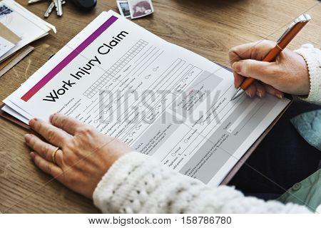 Work Injury Claim Application Form Information Concept