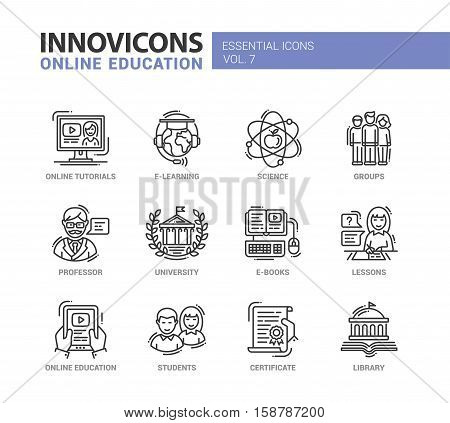 Online Education - modern vector education thin line flat design icons and pictograms set. E-books, university, online tutorials, science, e-learning, students, professor, group, library, certificate, lessons