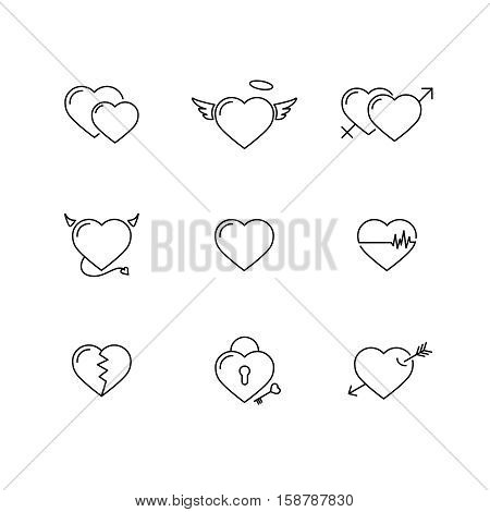 Heart icon vector set. Thin line, Outline minimalist cute sign isolated on white. Romance love symbol. Concept for marriage, Valetine's Day, wedding. Collection For Print greeting card, web, Wesite