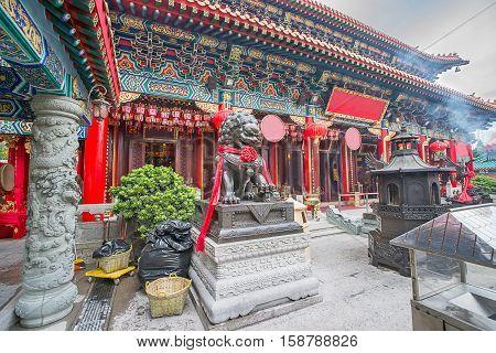 Hong Kong, Hong Kong - January 11, 2012: Religious Figures at main altar in Wong Tai Sin Temple in Kowloon in Hong Kong