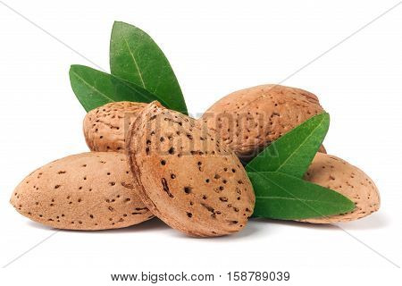heap of almonds in their skins with leaf isolated on white background.