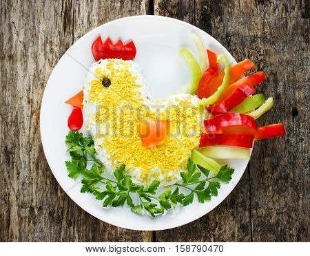 Salad shaped for the New Year 2017. Attractive and fun food