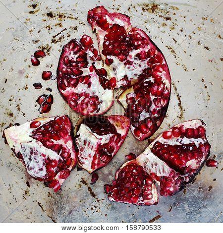 Fresh Peeled Pomegranate With Seeds