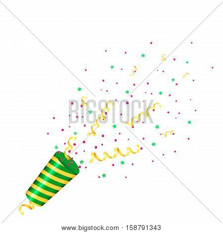 Party popper with confetti and streamer on white background. Isolated