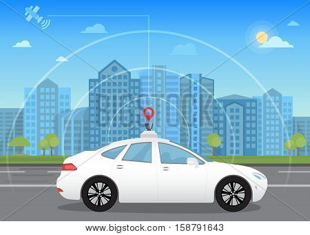 Self-driving intelligent driverless car goes through the city using modern navigation gps technology adapted for navigation sensor and satellite
