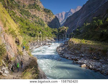 Hiking in Himalayas mountains. Manaslu circuit trek, Nepal