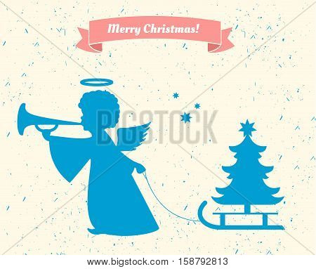 Silhouette of an angel. Angel with Christmas tree
