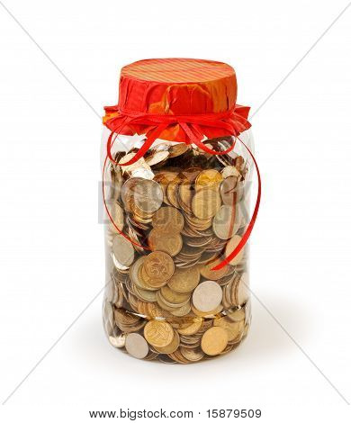 Coins In A Jar Bank As A Gift