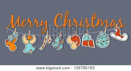 Cozy Christmas banner. Broad poster or decoration. dangling Xmas figures with santa red hat deer christmas tree angel candy sledge gift cone-and-berry. For greetings invitation postcard