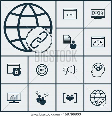 Set Of Marketing Icons On Keyword Marketing, Connectivity And Questionnaire Topics. Editable Vector Illustration. Includes Plan, Web, Client And More Vector Icons.