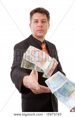 Businessman Throws Euro Money