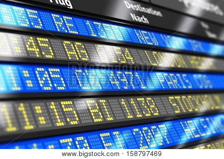 3D render illustration of airport arrival and departure board with timetable of international and local or domestic airliner flights