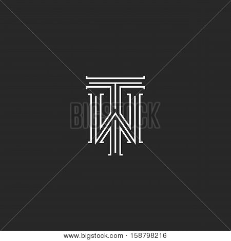 TW letters logo medieval monogram black and white combination intersection initials WT for wedding invitation emblem T W hipster icon