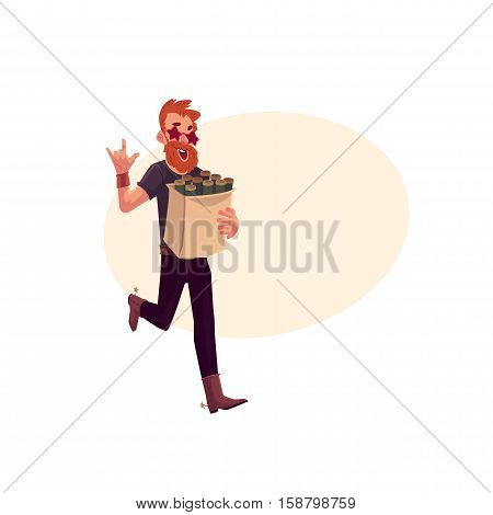 Young hipster in star glasses and cowboy boots hurrying to party with a bag of beer bottles, cartoon vector illustration isolated with space for text. Red haired party animal having fun at the party
