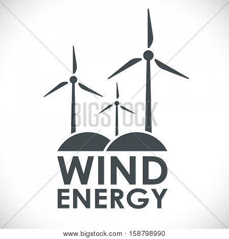 Wind energy generation logo shape concept vector illustration. Black and white power company emblem.