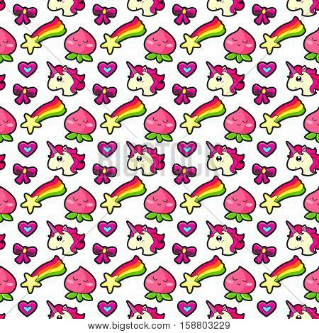 Seamless pattern with Fashion patches. Cute elements - unicorn star rainbow heart. Vector illustration isolated on white background.