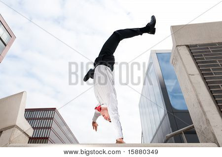 Jumping Young Business Man
