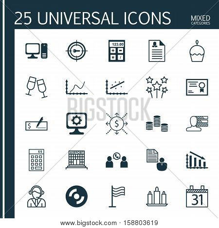 Set Of 25 Universal Editable Icons. Can Be Used For Web, Mobile And App Design. Includes Icons Such As Personal Skills, Report, Phone Conference And More.