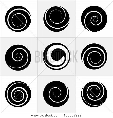 Collection of abstract spiral vector elements. Isolated