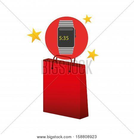 smart watch red bag gift star design vector illustration eps 10