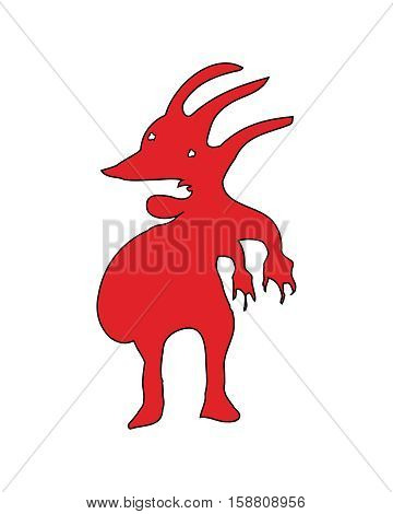Pencil drawing technique grotesque red creature illustration isolated on white background