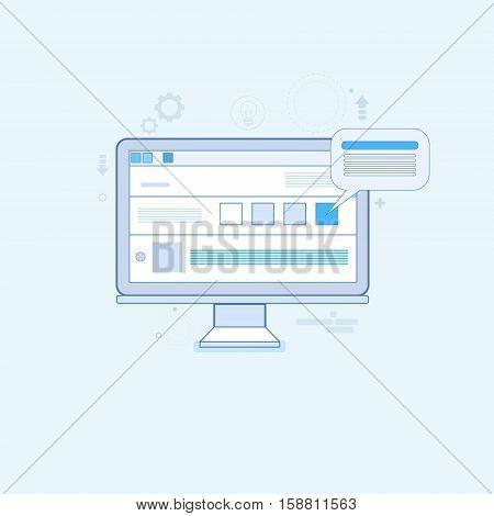 Computer Desktop Workstation Workplace Thin Line Vector Illustration