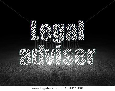Law concept: Glowing text Legal Adviser in grunge dark room with Dirty Floor, black background