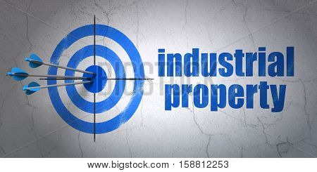 Success law concept: arrows hitting the center of target, Blue Industrial Property on wall background, 3D rendering
