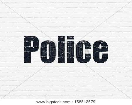 Law concept: Painted black text Police on White Brick wall background