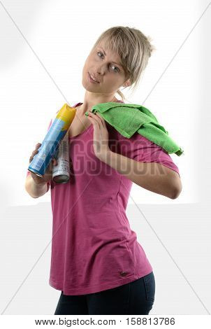 pretty very busy multitasking housewife on white background,