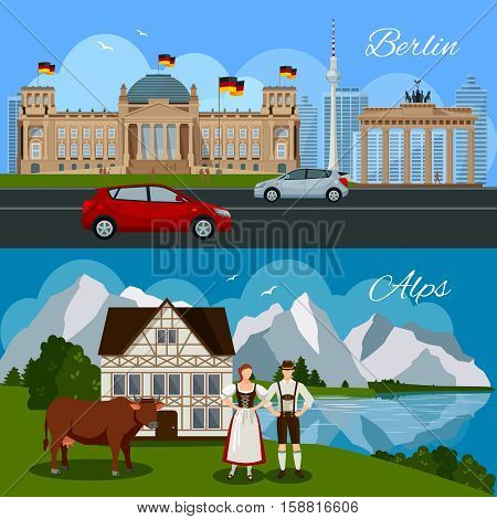 Germany flat composition with government building monument cars Brandenburg gate and picturesque beautiful landscape vector illustration