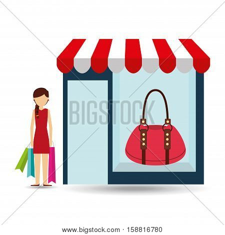 purse woman buys gifts vector illustration eps 10