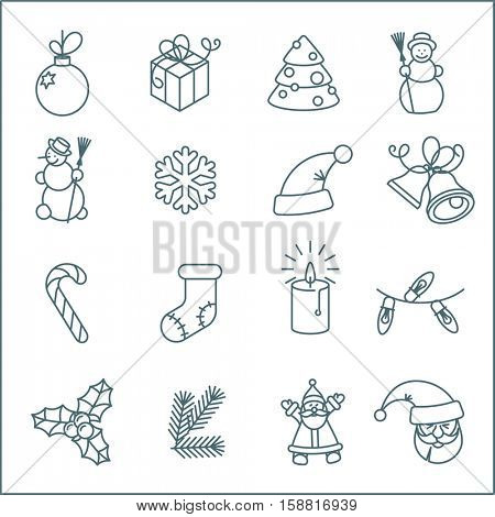 Christmas and New Year thin line flat design vector icon set. Christmas tree, snowflakes, Jingle Bells, candle, Santa, gift box and holly decoration.
