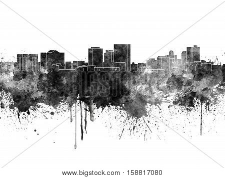 El Paso skyline in black watercolor on white background