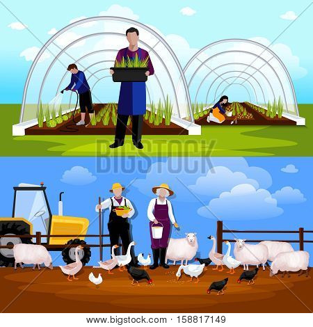 Forcing tunnel planing gardeners and sheep and  geese feeding farmers 2 flat horizontal banners isolated vector illustration