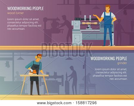 Woodworking carpentry professional service 2 flat banners with grinder and turner at work isolated vector illustration