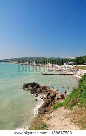 Beach mountains and the black sea. Landscape